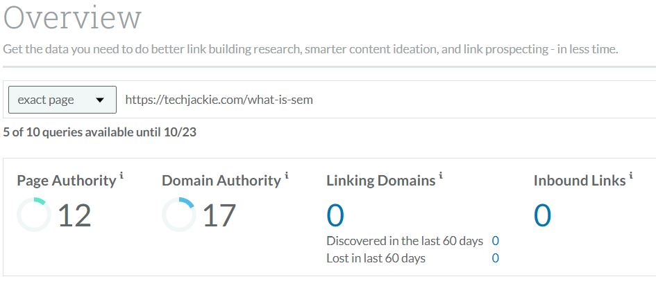 domain authority of the website