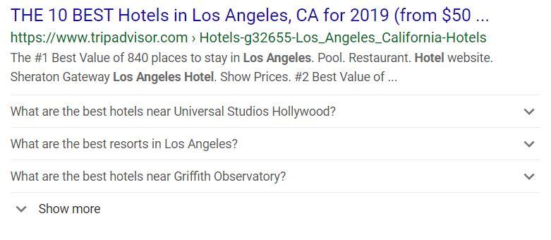 hotel shows up via big sites